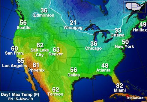 North America High Temperature Map Image