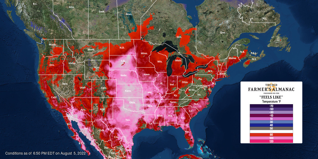North America Feels Like Current Temperature Map