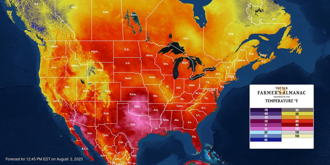 North American Temperature Forecast Map