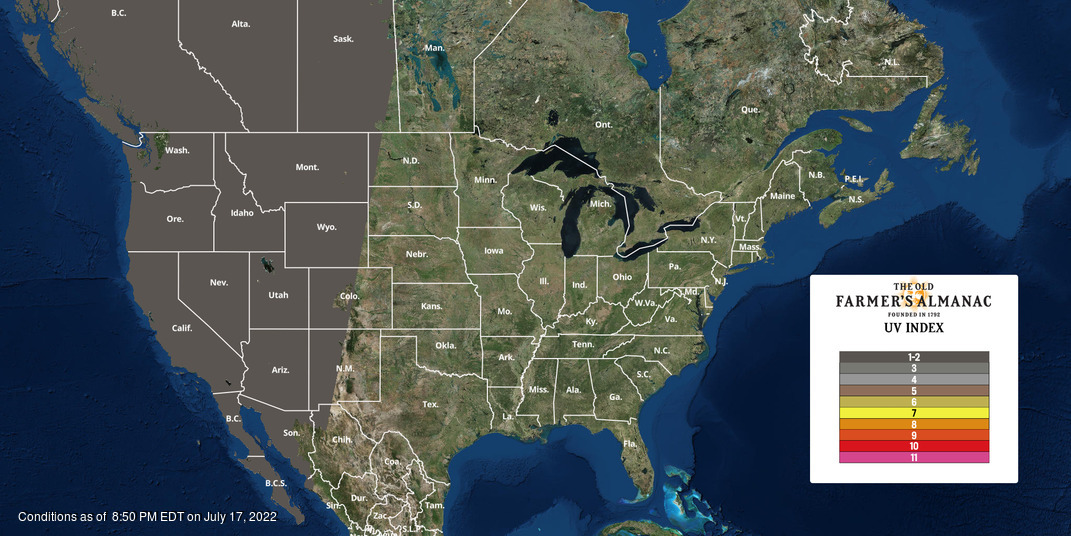 North American UV Index Map